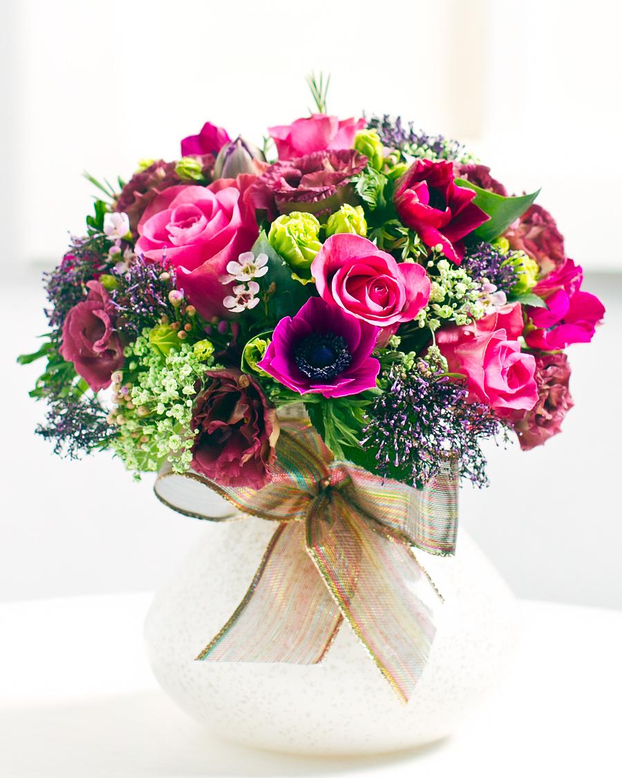 Kerek pink rózsa csokor