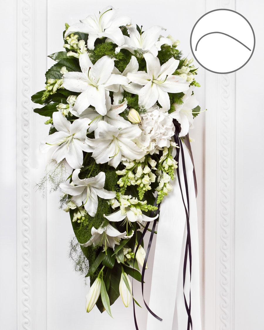 Sírcsokor fehér virágokból